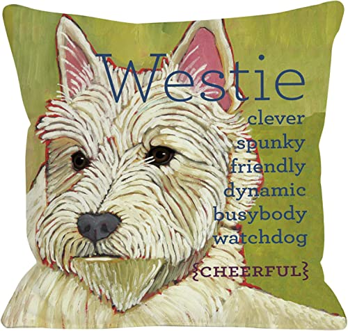 One Bella Casa Westie 1 Throw Pillow w Zipper by Ursula Dodge, 18 x 18 , Lime Green