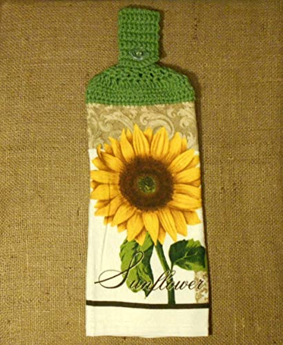 Sunflower Hanging Dish Towel Double Sided With A Leaf Green Crocheted Top, Floral  Kitchen Decor