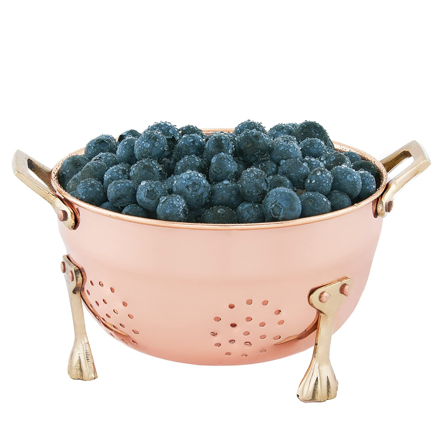 6 Hammered Colander with Handles Stainless Steel Old Dutch 870AQ Aqua Blue Berry