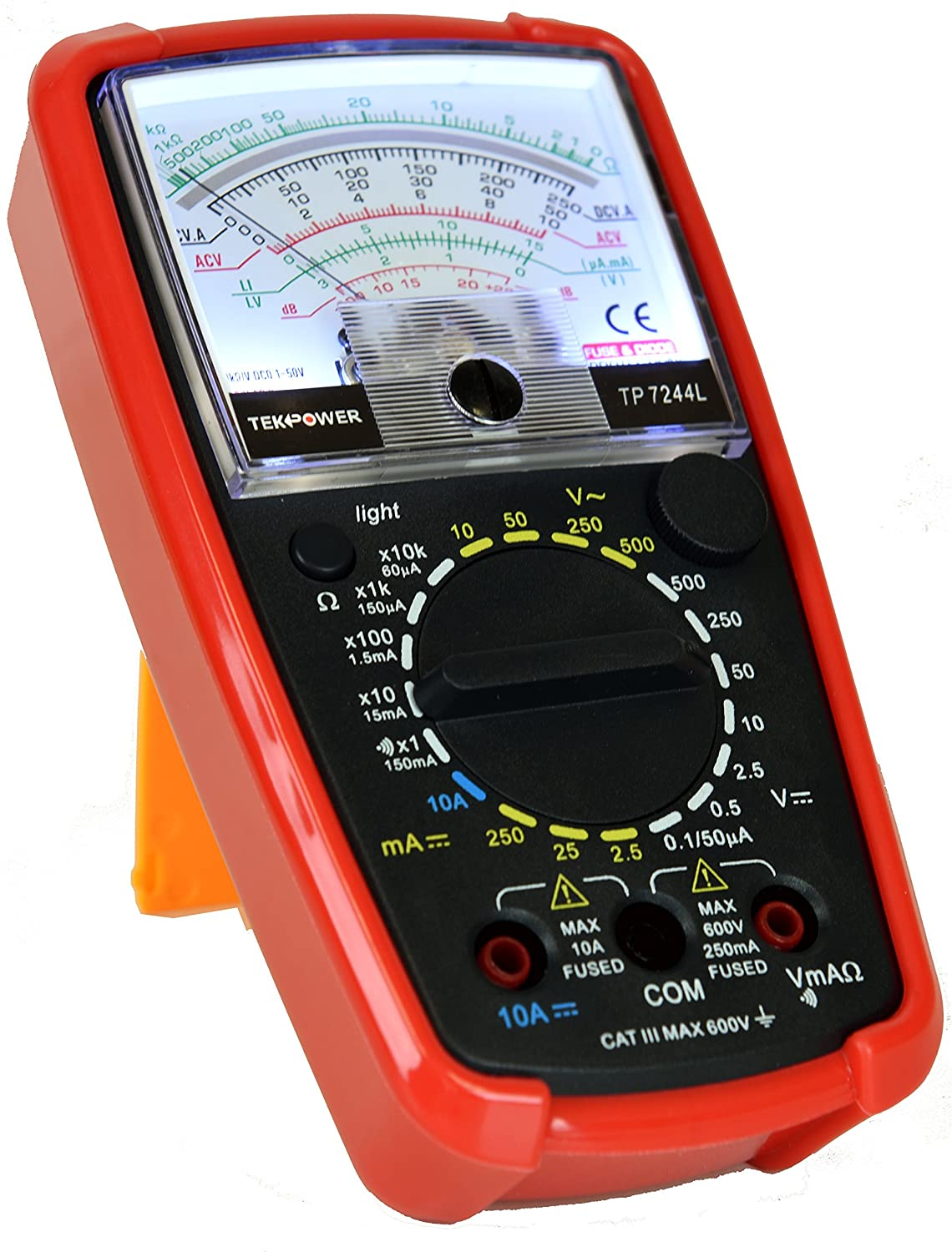 Tekpower Tp7244l 7 Function 20 Range Analog Multimeter How To Test Car Fuse Box With Back Light Strong Protective Holster Home Improvement