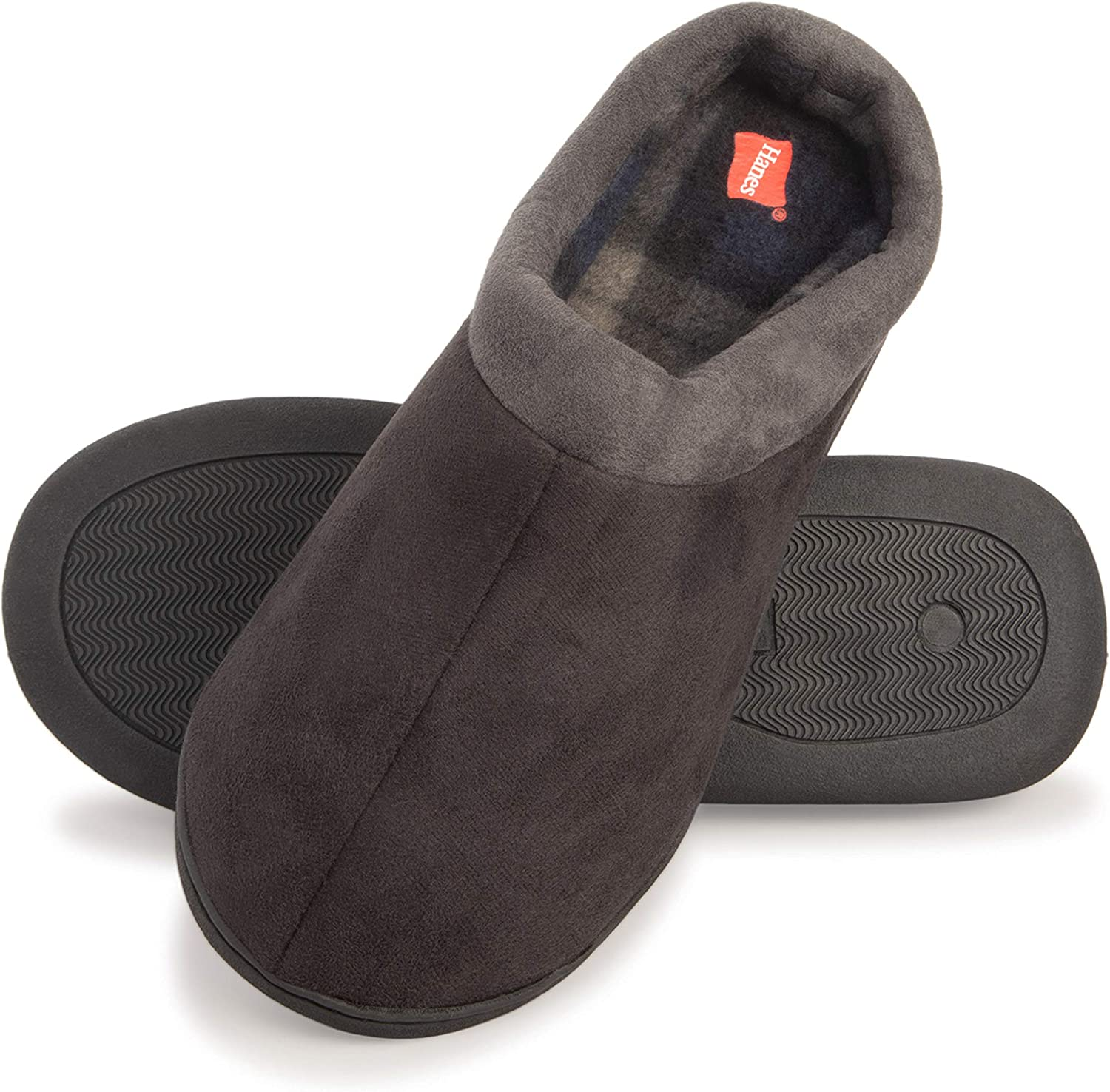 Hanes Men's Memory Foam Indoor Outdoor Suede Clog Slipper Shoe with Fresh Iq
