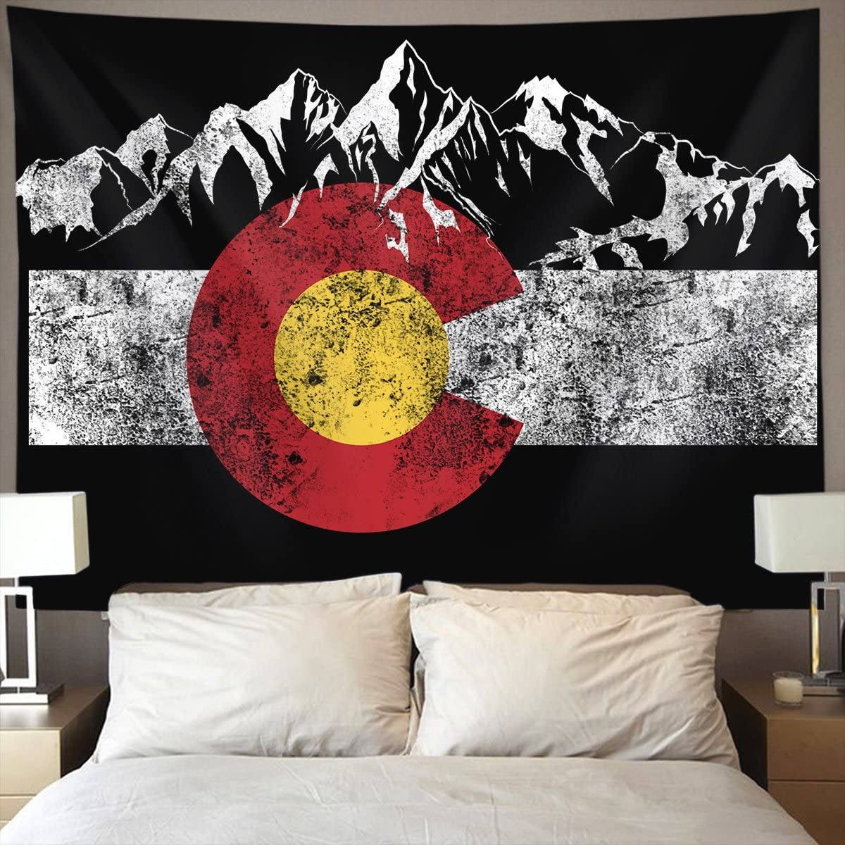 Colorado Flag Moutain Wall Tapestry Hippie Art Tapestry Wall Hanging Home Decor Extra Large tablecloths 60×90 inches for Bedroom Living Room Dorm Room