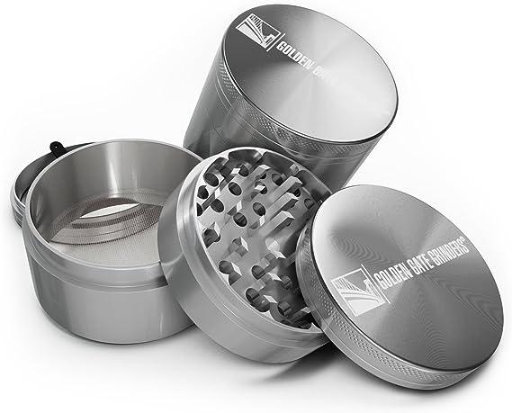 Silver, Large Golden Gate Grinders Herb Grinder 2.5 Inch Ultimate 4-piece Anodized Aluminum GGG-25-SLVR