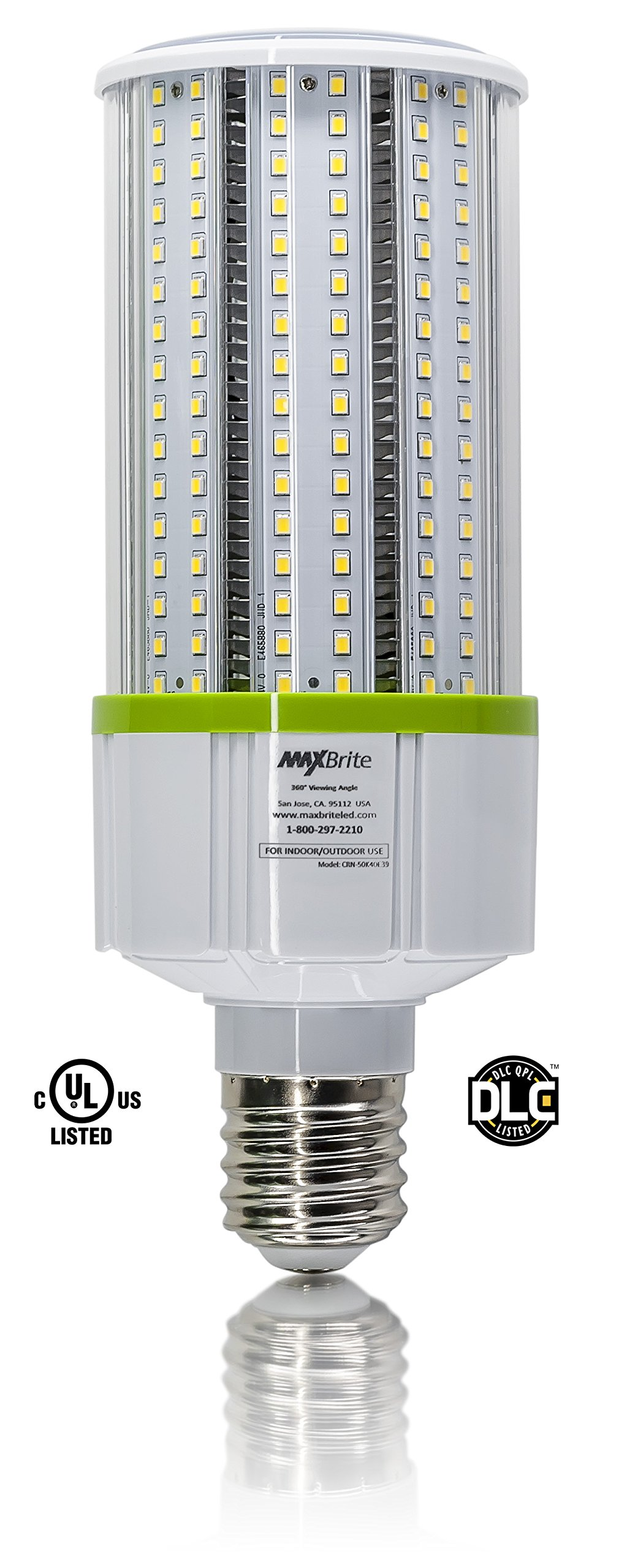40W LED CORN LIGHT BULB 5000K Replaces 400W, 4,600 lumens Mogul Base E39, 100-277V AC UL/cUL DLC