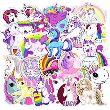 Zheyistep 30 pcs unicorns cool laptop sticker for iphone macbook car motorcycle luggage water bottle diy