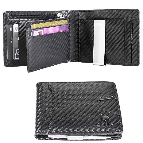 cf0629a489553 BAGLOBAL Geldbeutel Männer,aus echt Leder mit 12 Kartenfächern und  RFID-Schutz