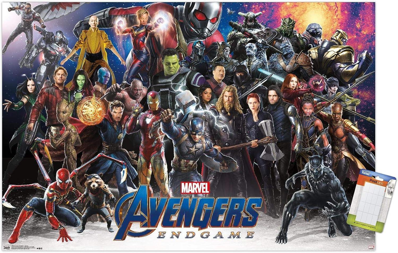 "Trends International Marvel Cinematic Universe - Avengers - Endgame - Lineup Wall Poster, 14.725"" x 22.375"", Premium Poster & Mount Bundle"