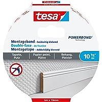 Tesa 77743-00000-00 Mounting Tape for Wallpaper & Plaster 10kg/m, 5m x 19mm, wit
