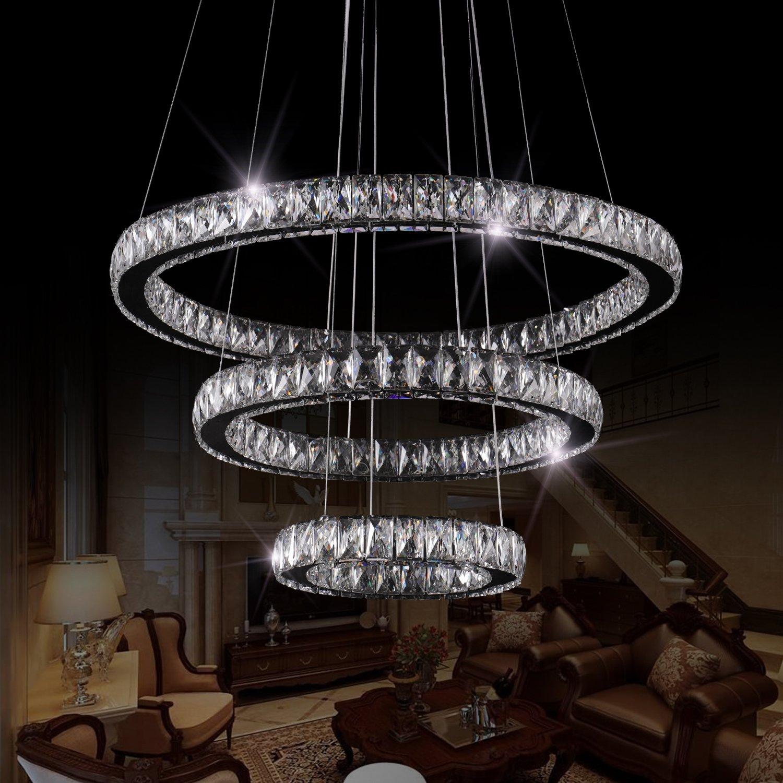 11.8 + 19.7 + 27.6 LED Ceiling Fixtures Flush Mount Pendant Lights Crystal Chandeliers 3 Rings SEFINN FOUR 16288