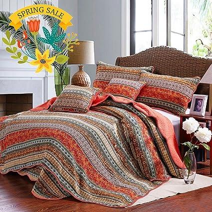 Floral Striped Quilt Coverlet Set King Luxury Boho Style Girls Quilt  Bedspread Set 100% Cotton