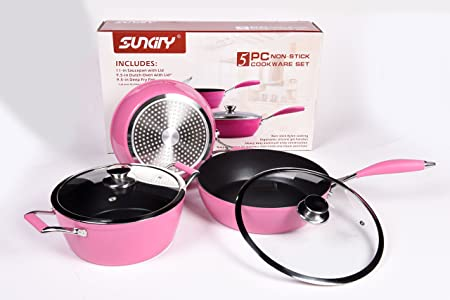 SunCity Non-stick 5-piece Aluminum Cookware Set with SunSpot Technology, Pink