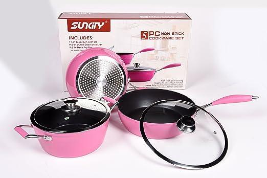 Suncity antiadherente 5 piezas Batería de cocina de aluminio ...