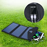 X-DNENG 20W Solar Charger with High Efficiency Sunpower Panels Dual USB Foldable Outdoor Solar Powered Charger for iPhone 6 6s 7/ Plus,iPad Pro/Air 2/Mini,Samsung Galaxy, Note 5/4 and More USB Devices