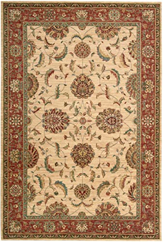 Nourison LI04 Living Treasures Area Rug 3'6″ x 5'6″/Ivory/Red/Rectangle