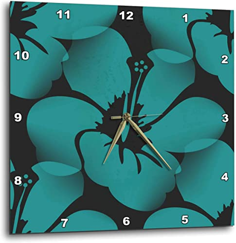3dRose DPP_59872_2 Teal Blue Tropical Hibiscus Flowers Floral Art Hawaiian Wall Clock, 13 by 13-Inch