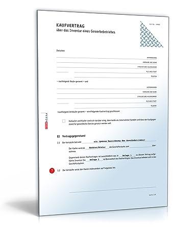 Kaufvertrag Inventar Gewerbebetrieb Download Amazonde Software