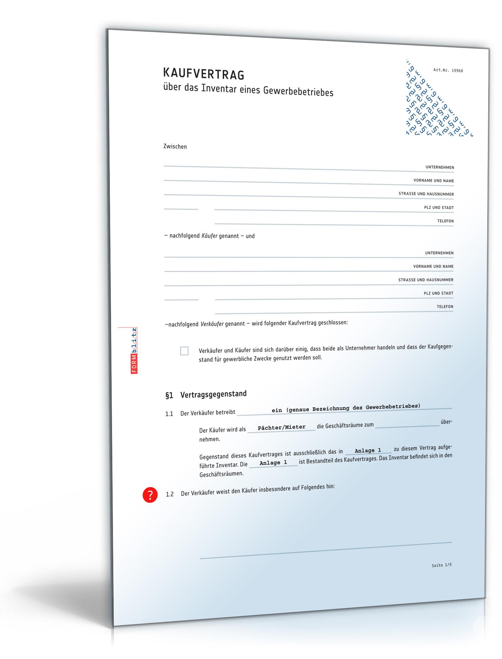 kaufvertrag inventar gewerbebetrieb download amazonde software - Verlangerung Elternzeit Muster