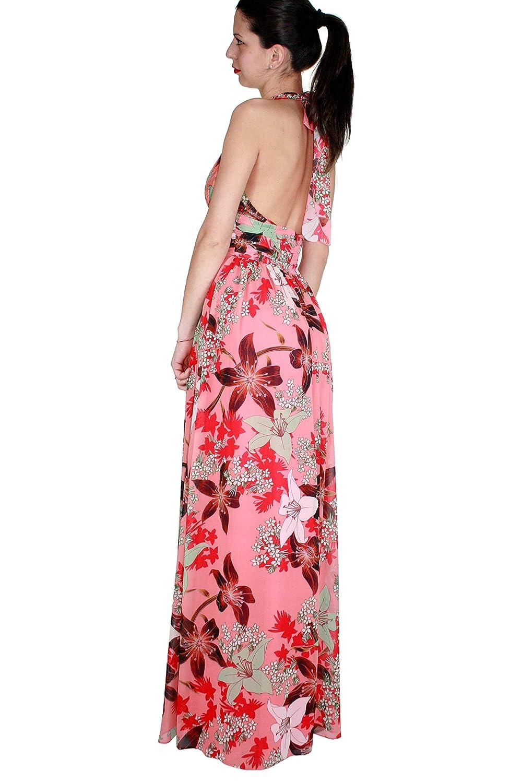 Vestiti Cerimonia Kocca.Kocca Abito Lungo Keller Colore Fantasia Rosa E Rosso L Amazon
