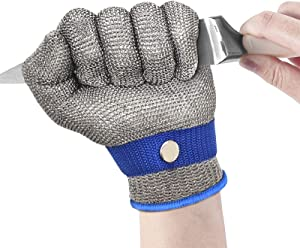 Cut Resistant Gloves - Ambidextrous, Food Grade, Stainless Steel Wire Metal Mesh Butcher Safety Level 9 Protection,Size S/M/L/XL Safety Work Glove for Meat Cutting, Fishing (XL)