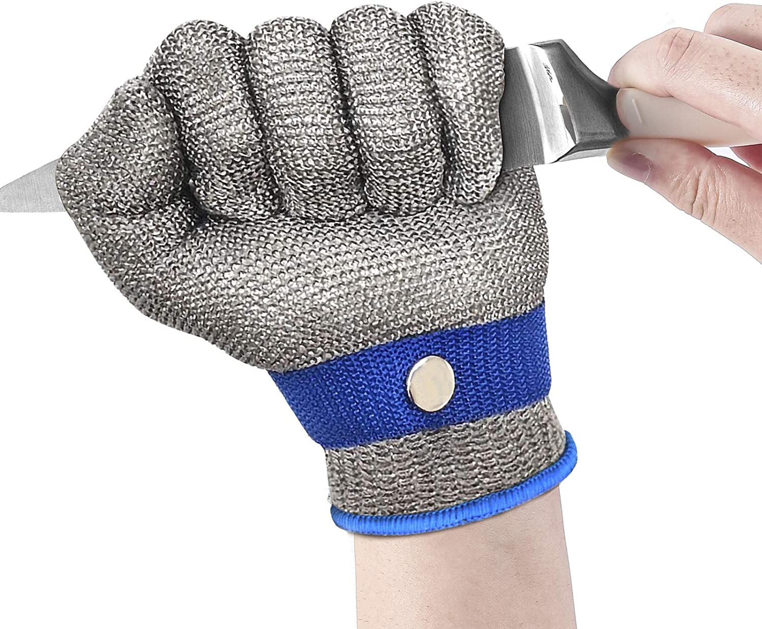 Cut Resistant Gloves, Stainless Steel Wire Metal Mesh Butcher Safety Level 9 Protection, Safety Work Glove