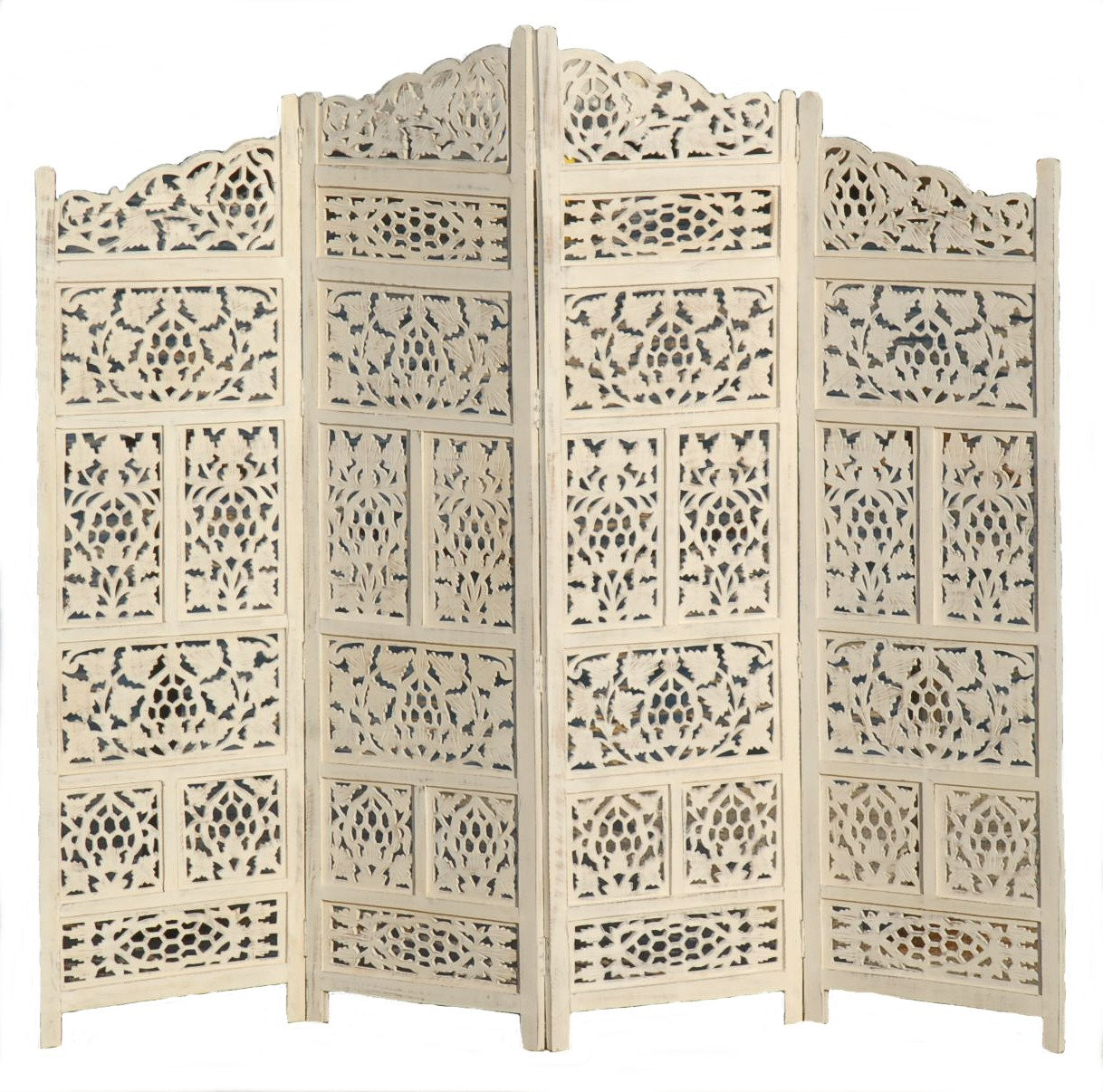 11IMPORTEXPORT.COM 4 PANEL SCREEN ROOM DIVIDER PARAVENT 202 CM WIDE OPEN DESIGN INDIAN HAND CARVED WOODEN SW