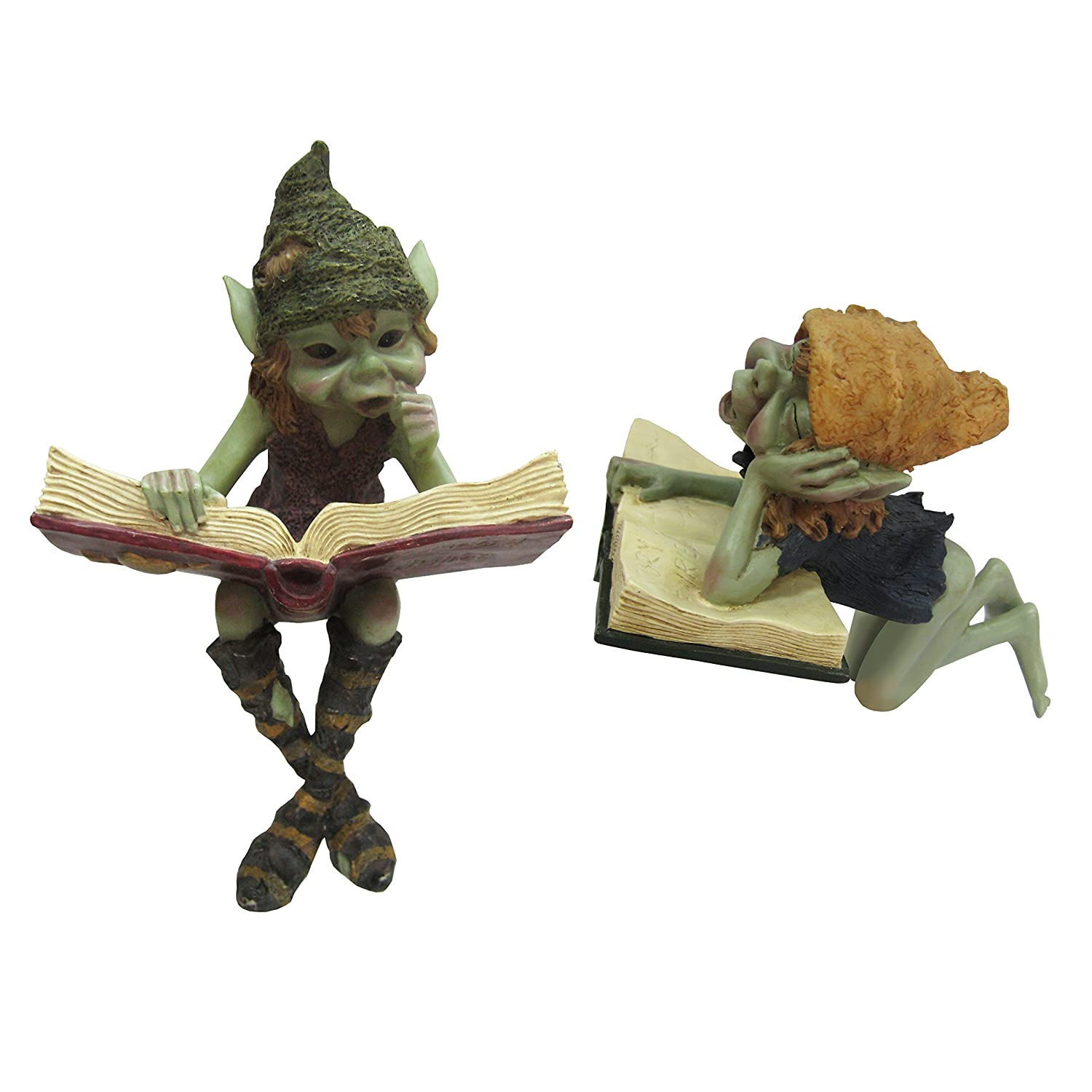 Anthony Fisher - 2 figuras de duendes leyendo para estante