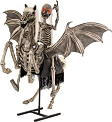 Halloween Haunters Life-Size Animated Standing Scary Skeleton Pegasus Horse with Skeleton Zombie Rider and Moving Flapping Wings Prop Decoration