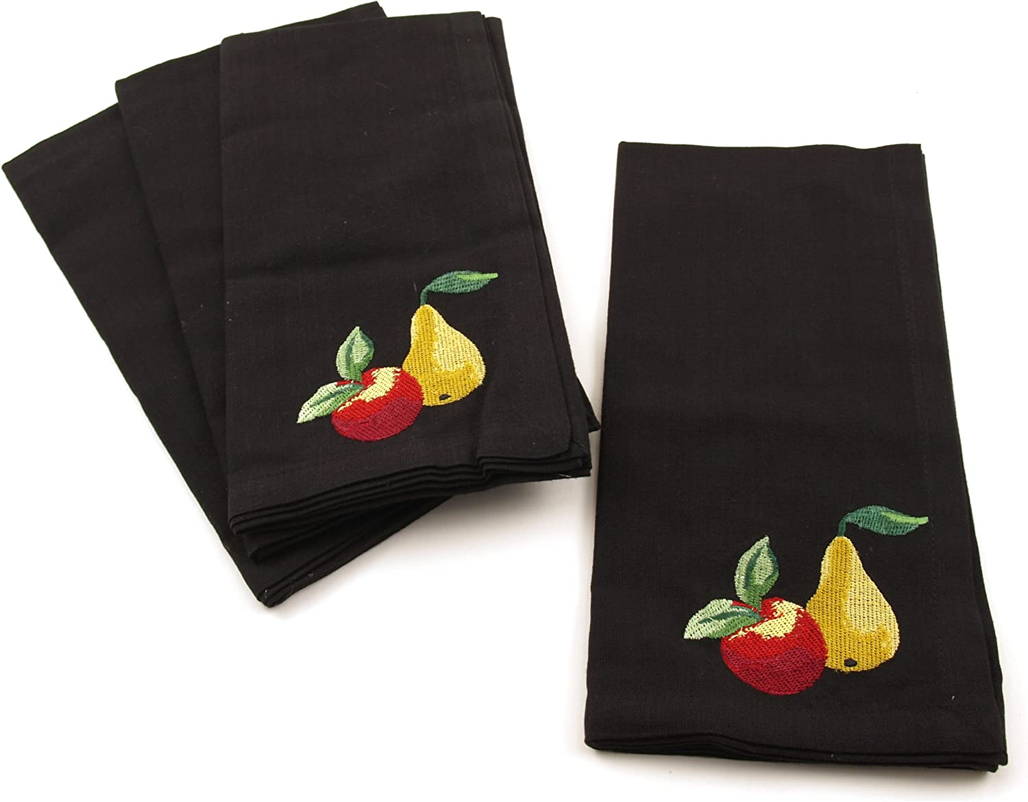 Park B. Smith Black with Embroidered Assorted Fruits 100% Cotton Dinner Napkin, Set of 6
