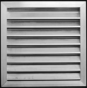 """36""""w X 36""""h Aluminum Outdoor Weather Proof Louver - Rain & Waterproof Air Vent with Screen Mesh - HVAC Grille - Aluminum [Outer Dimensions 37.75""""w x 37.75""""h]"""