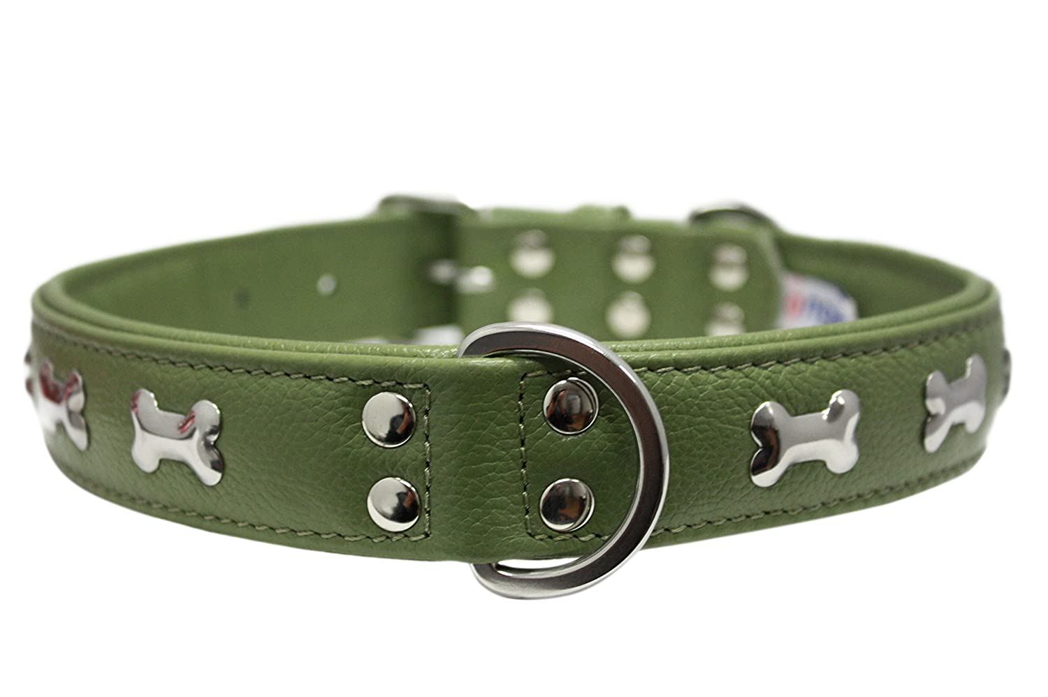 Leather Bones Dog Collar Padded Double-Ply Riveted Settings 26 x 1.25 Green Leather (redterdam Bones) Neck Size  20-24