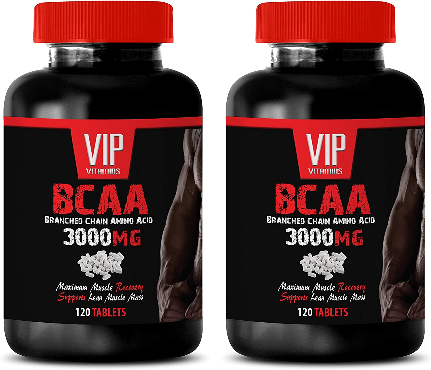 Muscle Growth Dietary Supplement Capsules - BCAA - BRANCHED Chain Amino Acid 3000 MG - bcaa Pills Natural - 2 Bottles 240 Tablets