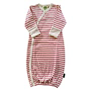 Parade Organics Kimono Gowns - Signature Prints Raspberry Breton Stripes 0-3 Months