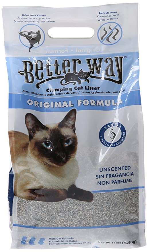 Amazon.com : Better Way Original Unscented Clumping Bentonite Cat Litter with Sanel Cat Attractant : Pet Supplies