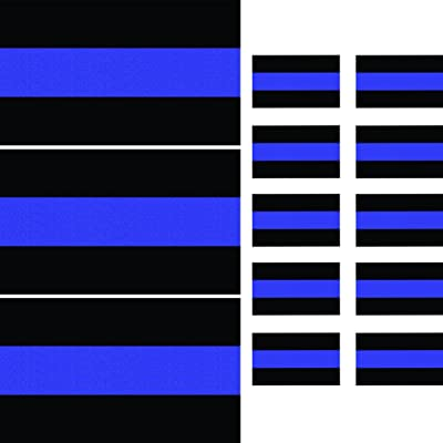 "Reflective Thin Blue Line Decals (3 Pack, 5"" x 3"") & License Plate Stickers (10 Pack, 1.5"" x 1"") Decals for Cars & Trucks, Honoring Police Law Enforcement: Automotive"