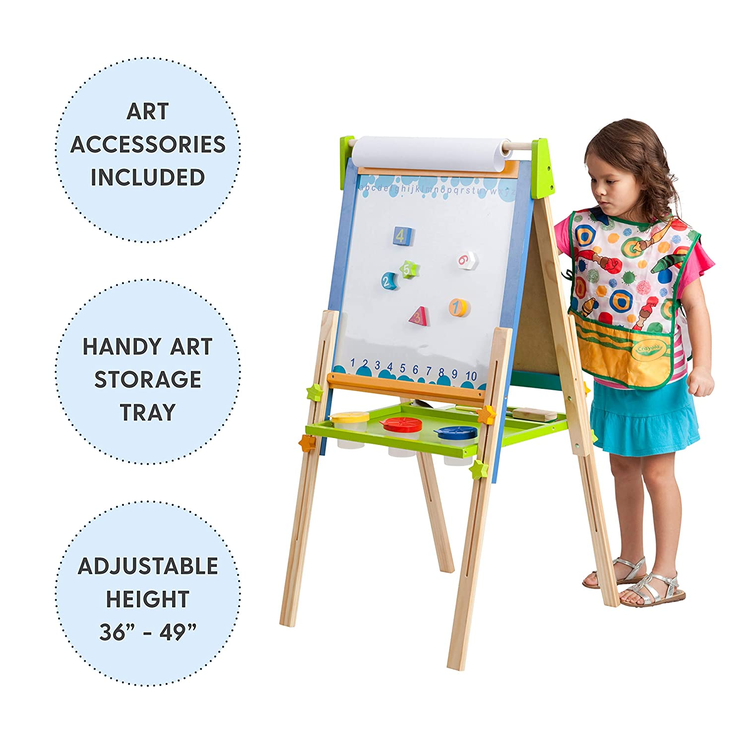3-in-1 Premium Standing Adjustable Art Easel with Accessories for Kids Play Time