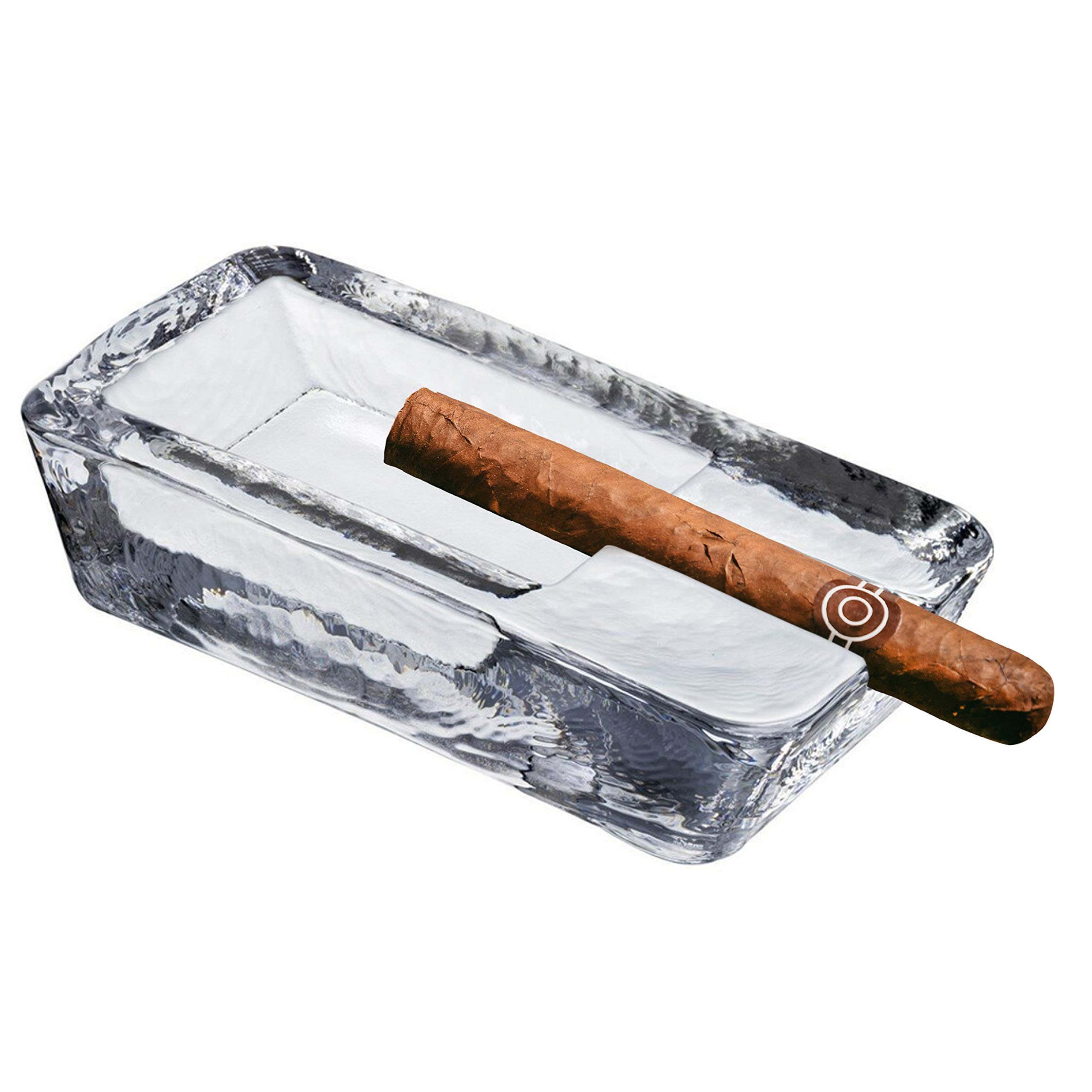 Pasabahce Crystal Glass Heavy Cigar Ashtray for Patio   2.57 Lbs, Large Handmade, Luxury   Outdoor, Indoor, Home, Office, Hotel, Pool, Restaurant