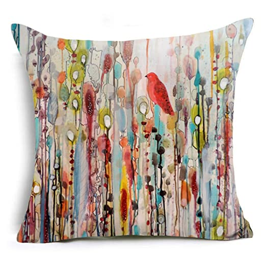 PINTURA poliéster funda para cojín pájaros y maderas arte ...