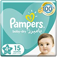 Pampers Baby-Dry Diapers, Size 4+, Maxi+, 10-15kg, Carry Pack, 15 Count
