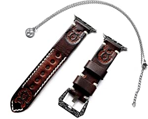 Taurus Zodiac Band Set Compatible with Apple Watch 38mm 40mm 42mm 44mm iWatch 1 2 3 4 Series Brown Leather Embossed Strap and 25