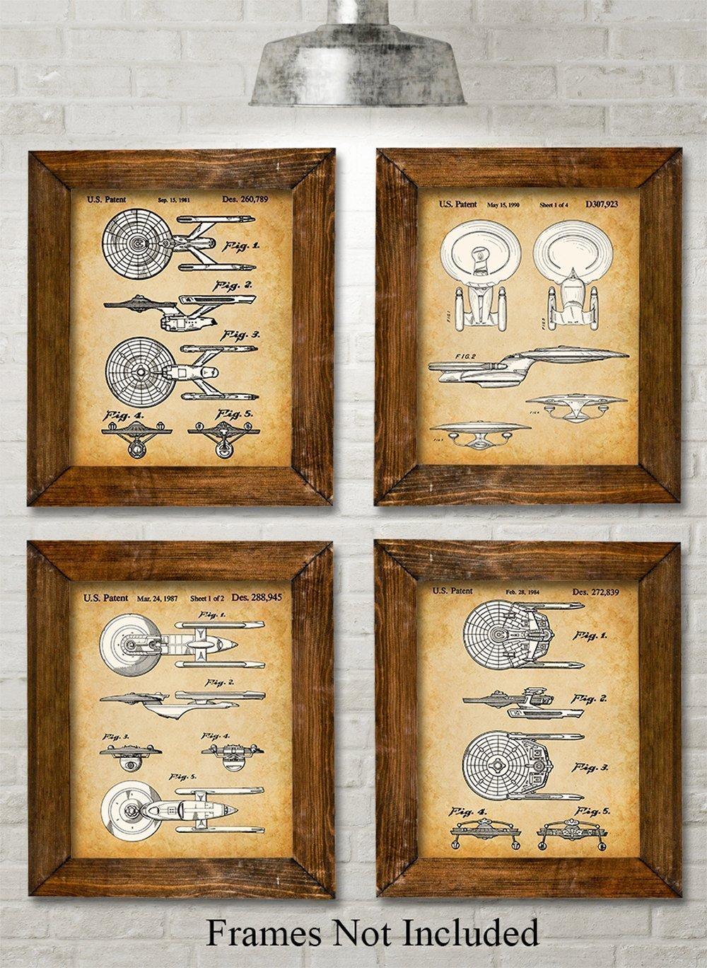 Star Trek Original USS Enterprise Patent Art Prints - Set of Four Photos (8x10) Unframed - Great Gift for Trekkies