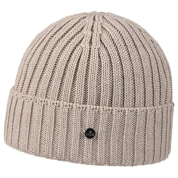 46ebe068b4a Lierys Merino Rib Knit Hat Beanie Cuffed (One Size - Beige)  Amazon ...