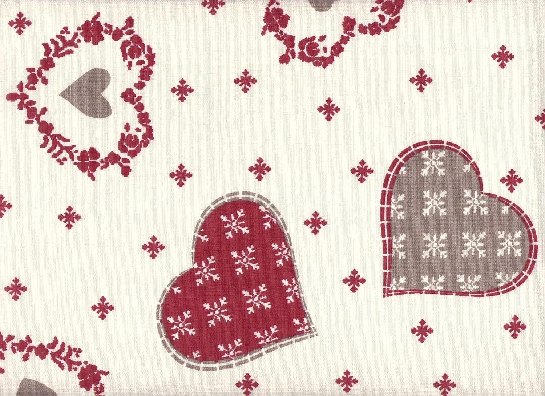 ecru con rosso e taupe | 100/% puro cotone Tessuto natalizio cuori e fiocchi neve 1 metro a metro // metraggio altezza: 160 cm