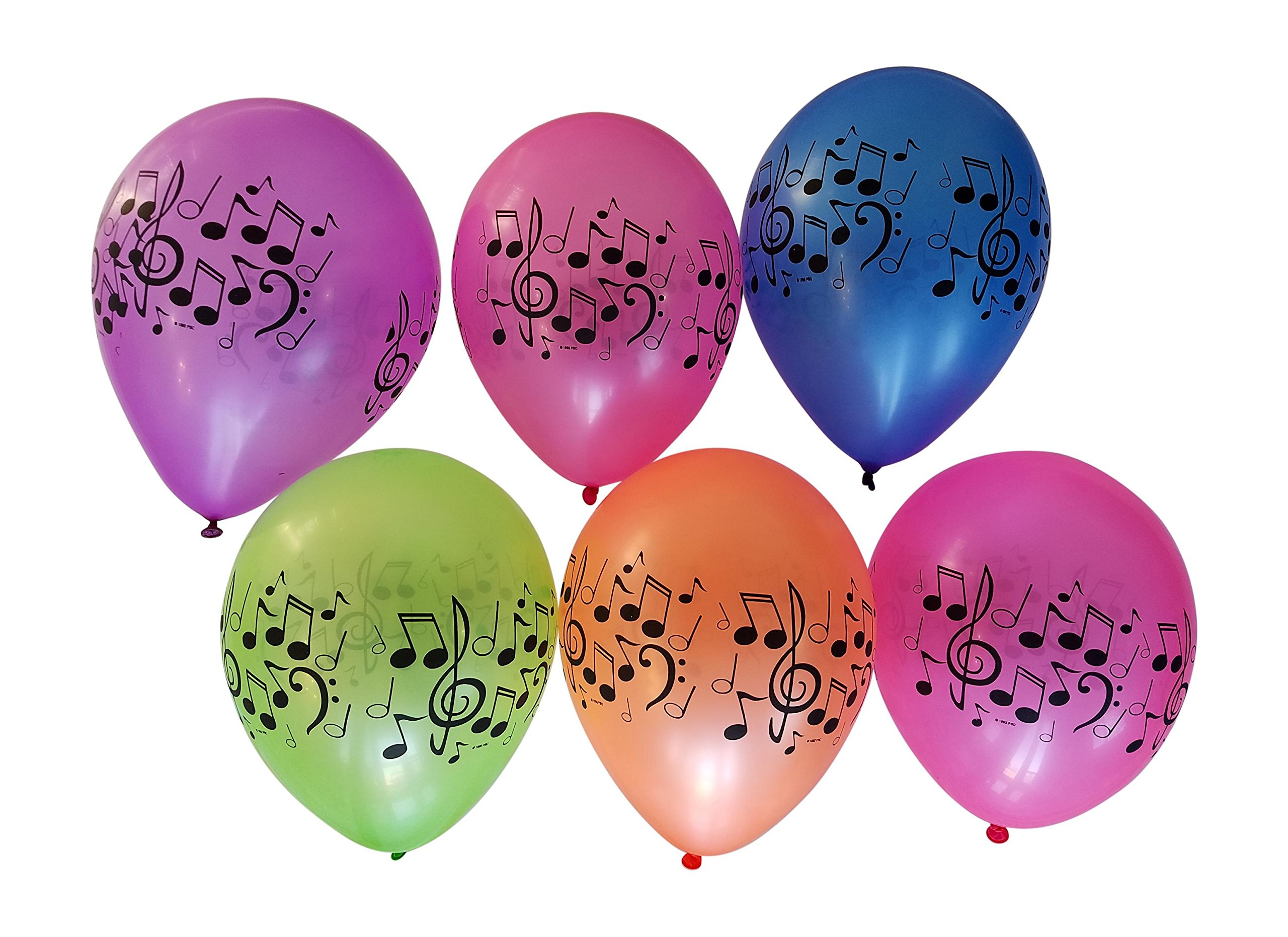 Music Balloons with Notes for Band, Choir, or Music Birthday Party - 25 Assorted Neon Colors - 11 Latex Balloons
