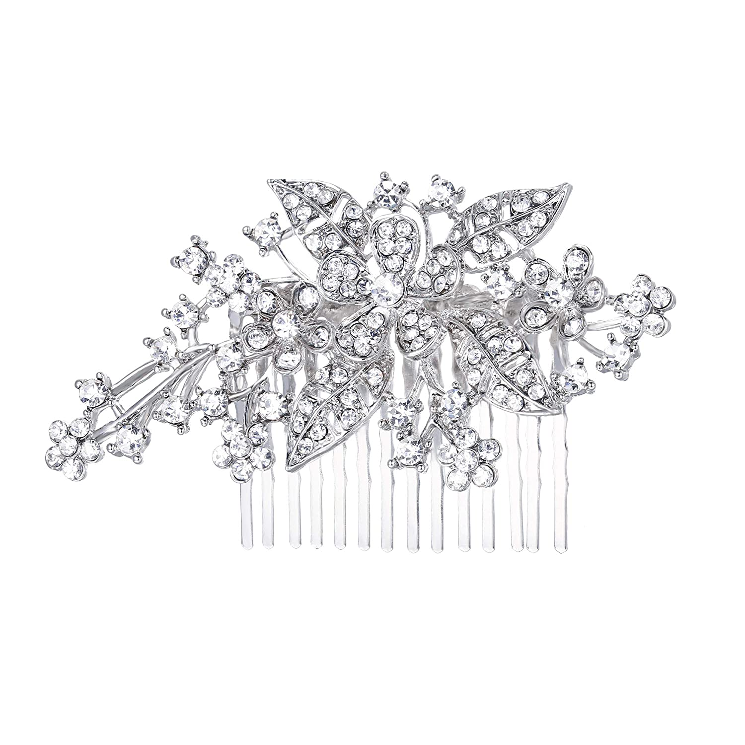 Ever Faith Bridal Triple Flower Leaf Clear Austrian Crystal Hair Comb N00415-2