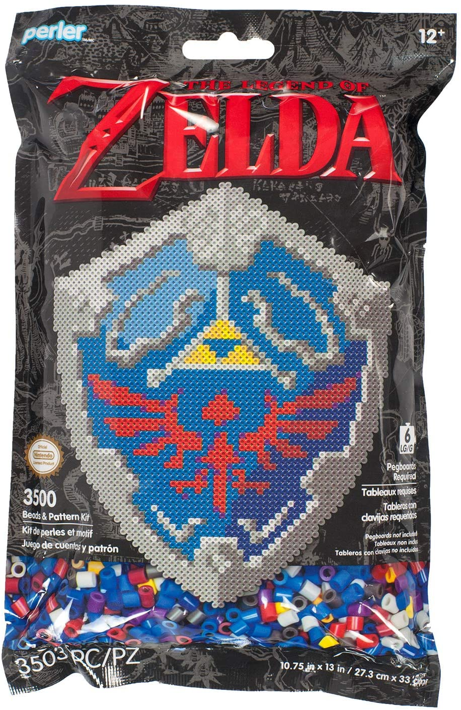 Perler Nintendo's The Legend of Zelda Hylian Shield Pattern and Fuse Bead Kit, 10.75'' x 13'', 3503pc