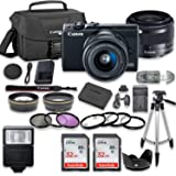 Canon EOS M100 Mirrorless Digital Camera (Black) Bundle with Canon EF-M 15-45mm f/3.5-6.3 is STM Lens, 2pc SanDisk 32GB…