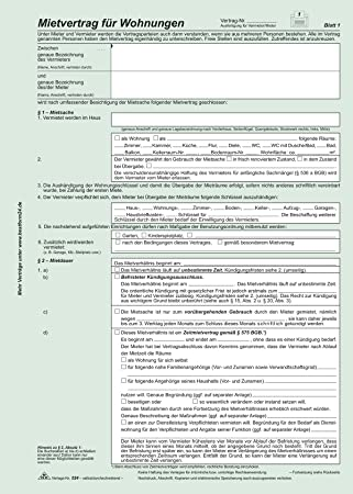 Rnk 5243 Vordruckuniversal Mietvertrag Für Wohnungen Amazonde