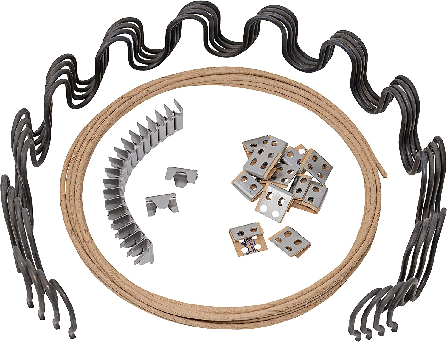 "House2Home 25"" Sofa Upholstery Spring Replacement Kit 4pk Springs, Clips, Wire for Furniture Chair Couch Repair, Includes Instructions"