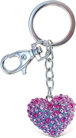 PURPLE TEDDY BEAR Glitter Bling KEYCHAIN Purse Handbag Charm Clip Key Ring USA