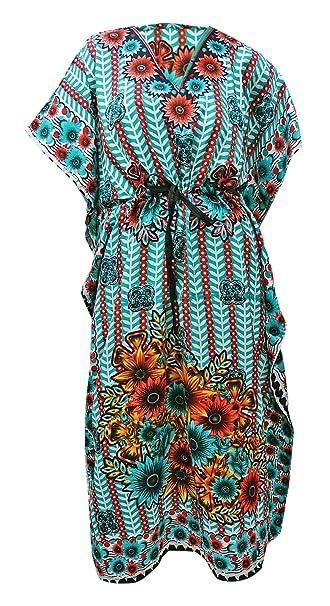 PEEGLI Donne Etniche del Caftano delle Donne Indiane Vestono Caftano del  Kimono Stampato Floreale  Amazon.it  Abbigliamento 5e0aefc7ef75